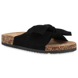 Mytrendshoe Damen Sandalen Pantoletten Hausschuhe Schleifen Freizeit Schuhe 834127, Farbe: Schwarz, Größe: 38