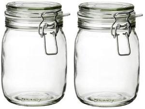 2 x 1-Glas, Ikea  mit KORKEN Einweckgläser, mit luftdichtem Deckel