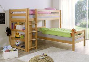 Etagenbett BENI L Kinderbett Spielbett Hochbett Bett Buche Natur