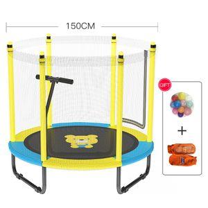 """Linuode 59 """"Trampoline für Kinder Outdoor & Indoor Mini Kleinkind Trampolin mit Gehäuse, Sicherheitshandlauf, Geburtstagsgeschenke für Kinder mit Handlauf"""