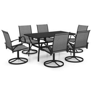 7-teiliges Outdoor-Essgarnitur Garten-Essgruppe Sitzgruppe Tisch + stuhl Textilene und Stahl