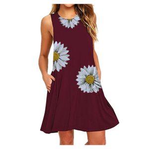 Mode Damen O-Neck Pocket Printing Ärmellose Casual Nightdress Kleider Größe:S,Farbe:Kupfer