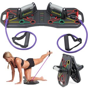 Multifunktionsklappbares Push-Up-Board-System mit Widerstandsrohrb?ndern Pull-Rope-Bodybuilding-Training Work-Up-Push-Up-Stand-Board