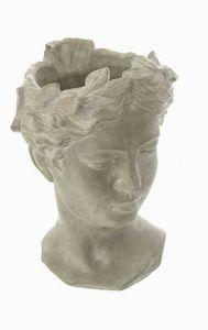 Pflanztopf Büste Helena, Übertopf, Blumentopf aus Beton grau/weiß gewischt 27 cm
