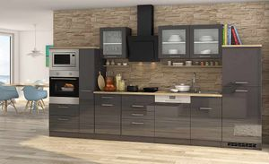 Küchenblock Mailand 370 cm mit Apothekerauszug grau hochglanz ohne Elektrogeräte