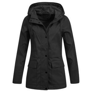 Frauen Solid Rain Jacke Outdoor Hoodie Wasserdichter Mantel Lady Windproof Coat Größe:L,Farbe:Schwarz