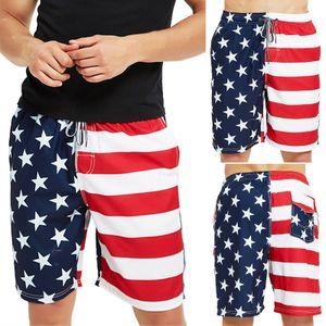 Herren Sommerurlaub Strand Shorts Amerikanische Flagge Badeanzug Shorts,Farbe: Blau,Größe:L