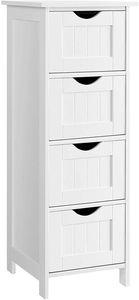 VASAGLE Badezimmerschrank, 30 x 30 x 82 cm,Badschrank, schmal, mit 4 Schubladen,  für Wohnzimmer, Schlafzimmer, Flur, freistehend, platzsparend, weiß LHC40W