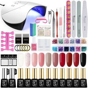 10 Farben Gellack Nagelstudio 36w UV/LED Doppellichtquelle Lampe ausgewähltes Nagellack Set UV-Lack Set Nageldesign Nagelkunst geeignet für beide Profi und Anfänger