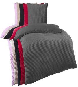 Kuscheli® Winter Wende Plüsch Bettwäsche 135 x 200 od. 155 x 220 mit 80x80 Kissenbezug Cashmere-Touch  Deckenbezug , Farbe:Grau, Größe:135x200 + 80x80