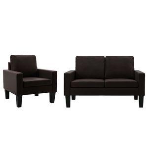 2-tlg. Sofagarnitur Braun Kunstleder, Wohnlandschaft-Sofa, Couch, Relaxsofa Moderne
