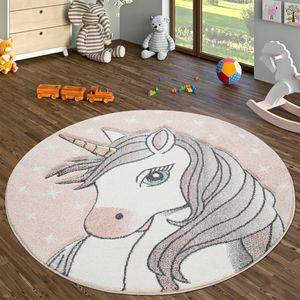 Runder Teppich Kinderzimmer Kinderteppich Kurzflor Mit Einhorn Design, In Pink, Größe:Ø 120 cm Rund