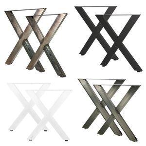 2 x Tischbeine Metall Tischgestell Tisch Beine Tischkufen Design X Form Für Möbel Esstisch Schreibtisch Gartentisch Stahl Schwarz Weiß 60 x 72 cm V2Aox, Farbe:Stahl lackiert