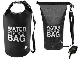 Trockentasche 2L/20L/30L Wasserdichter Dry-Bag Seesack Schwarz Karabiner Tragegurt 6902, Größe:20 L
