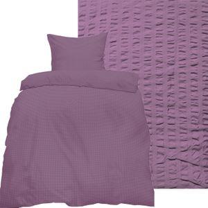2-tlg. Seersucker Bettwäsche 135x200 +80x80 cm, fliederlila, uni einfarbig, bügelfrei, Microfaser