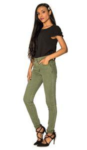 Damen Denim Jeans Hose Stretch Röhrenjeans Skinny Pants Push Up , Farben:Khaki, Größe:42