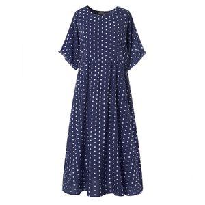 ZANZEA Damenmode Kurzarm Kleid Kaftan Langer Gepunktet Pocket Beach Partykleid, Farbe: Dunkelblau, Größe: XL