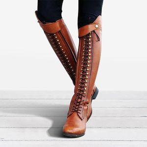 Damen Western Platform Cowboy Schnürung Runde Zehen über dem Knie Hohe Ritterstiefel Größe:38,Farbe:Gelb