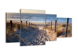 """Leinwandbild - 120x70 cm - """"Das Rauschen des Meeres, das Singen von Vögeln, ein wilder Strand zwischen den Gräsern ...""""- Wandbilder - Meer Strand Dünen  - Arttor - DL120x70-3612"""