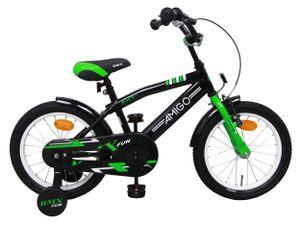 AMIGO Kinderfahrräder Jungen BMX Fun 16 Zoll 28 cm Jungen Rücktrittbremse Grün/Mattschwarz