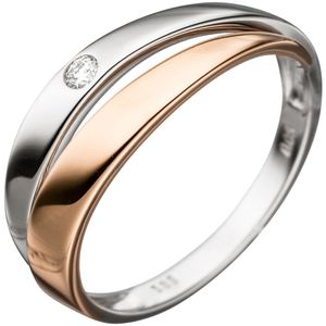 JOBO Damen Ring 585 Gold Weißgold Rotgold bicolor 1 Diamant Brillant Diamantring Größe 52