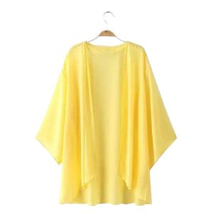 Sommer Frauen Chiffon einfarbig offene Vorderseite Kimono Bikini vertuschen Strickjacke Mantel gelb S.