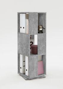 FMD furniture 291-001 Drehregal in Nachbildung Beton Light Atelier, Maße ca. 34 x 108 x 34 cm (BxHxT)