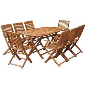 9-teiliges Outdoor-Essgarnitur Garten-Essgruppe Sitzgruppe Tisch + stuhl Klappbar Massivholz Akazie
