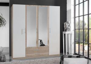Wimex Kleiderschrank Schlafzimmer Schrank Spiegel Cliff eiche sägerau - weiß 179cm