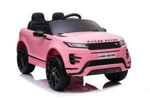 Elektroauto für Kinder Range Rover EVOQUE, Rosa, doppelter Ledersitz, MP3-Player mit USB-Eingang, 4x4-Antrieb, 12V10Ah-Batterie, EVA-Räder, Hinterradaufhängung, Schlüsselstart, 2,4-GHz-Bluetooth-Fernbedienung, lizenziert