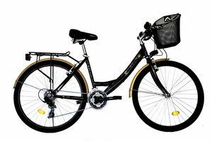 26 ZOLL DAMEN MÄDCHEN City FAHRRAD Mädchenfahrrad CITYFAHRRAD DAMENFAHRRAD CITYRAD DAMENRAD Rad Bike 21 GANG 5100 Schwarz Gold