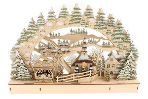 Schwibbogen Lichterbogen Holzschnitt, Winterdorf mit Licht & Glitzer 44,5 * 7 * 29,5cm, batteriebetrieben & Timer-Funktion