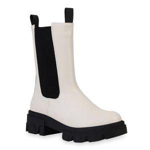 VAN HILL Damen Plateaustiefel Stiefel Blockabsatz Profil-Sohle Schuhe 836404, Farbe: Creme, Größe: 38