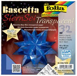 folia Faltblätter Bascetta-Stern blau-transparent 115 g/qm 150 x 150 mm 32 Blatt
