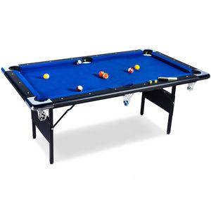 Buckshot Billardtisch 6ft - 193x109x81cm Atlanta- Tischbillard klappbar mit Zubehör - 6 Fuß Pool Billard mit Metallklappbeinen - Blau/Schwarz