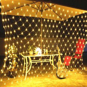 3x2m 196 LED Lichtervorhang Lichternetz Lichterkette Weihnachten Garten Innen Außen@#Warmweiß
