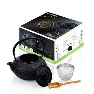 Lumaland Teekanne 1,4 Liter aus Gußeisen mit Deckel und Sieb