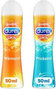 Durex Play Gleitgel Gleitmittel Ausprobierpaket | Prickelnd & Wärmend 2 x 50ml