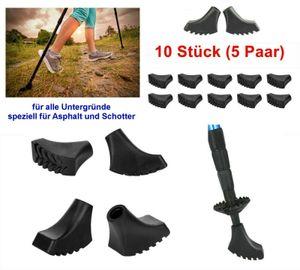 GKA 10 Stück (5 Paar) Nordic Walking Asphaltpads für Schotter und Asphalt Ersatzfüße für Nordic Walking Stöcke Gummipuffer Trekking