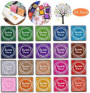 Stempelkissen Set, 20 Farben Stempelkissen Fingerabdruck Set für Stempel Partner Color Card Making und Kids DIY Scrapbooking, 20 Pack