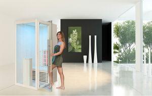 Infrarotkabine WELCON® Easytherm Solo - Sauna für eine Person - Tür bei Draufsicht in die rechte Seitenwand integriert (wie Abbildung)
