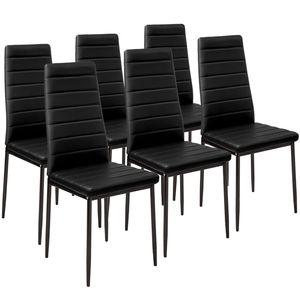 tectake 6 Esszimmerstühle, Kunstleder - schwarz