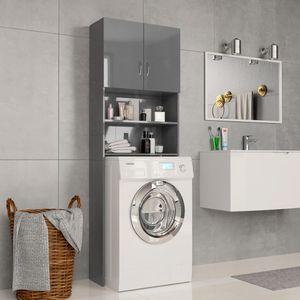 vidaXL Waschmaschinenschrank Hochglanz-Grau 64x25,5x190 cm Spanplatte
