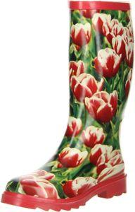 ConWay Damen Gummistiefel (Tulpen) rot, Größe:37, Farbe:Rot