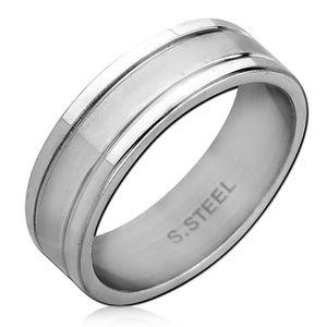 viva-adorno Gr. 56 (17,8 mm Ø) Damen Herren Ring Bandring Rillen Fingerring Edelstahl Ring glänzend poliert silber RS61b,