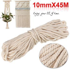 10mm Baumwolle Schnur Seil Faden Garn Häkeln Makramee Baumwollschnur Rolle 45m