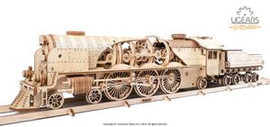 Ugears - Holz Modellbau V-Express Lok Dampflokomotive mit Tender 538 Teile