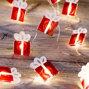20 LED Lichterkette in Geschenke-Optik Batterie Weihnachten Weihnachtsdekoration