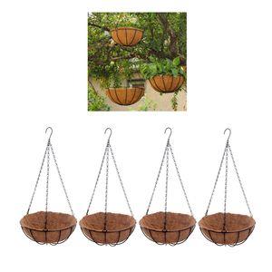4x Blumenampel Körbe, Kokos Design, mit Kette, als Hängeampel für Pflanzen Blumen