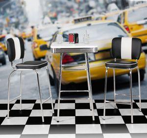 WOHNLING Bartisch eckig 60 x 60 cm American Diner MDF Holz & Alu Stehtisch Design Partytisch Retro USA Bistrotisch